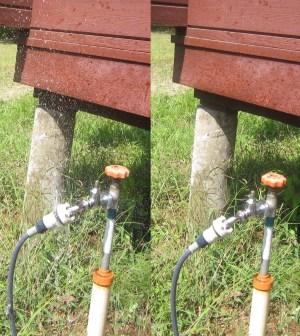 写真左:不完全な装着で水が噴き出ている。写真右:正しく装着すれば水は漏れない