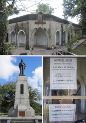 北マリアナ諸島博物館、松江春次の銅像、博物館ドアの掲示