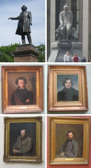左上:プーシキン像、右上:ドストエフスキー像、左中:プーシキン、右中:ゴーゴリー、左下:ドストエフスキー、右下:トルストイ
